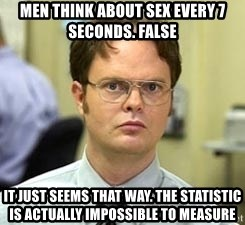 Dwight Shrute - MEN THINK ABOUT SEX EVERY 7 SECONDS. FALSE IT JUST SEEMS THAT WAY. THE STATISTIC IS ACTUALLY IMPOSSIBLE TO MEASURE