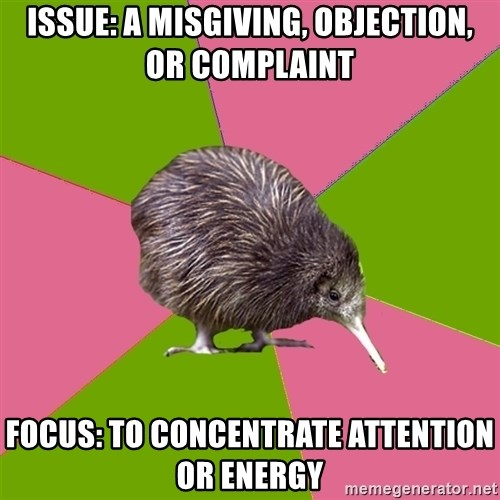 Choir Kiwi - ISSUE: A misgiving, objection, or complaint FOCUS: To concentrate attention or energy