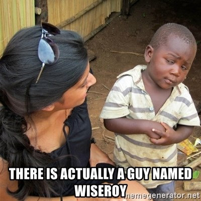So You're Telling me -  There is actually a guy named WiseRoy