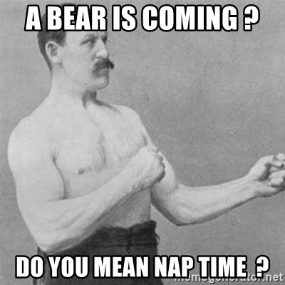overly manlyman - a bear is coming ?  do you mean nap time  ?
