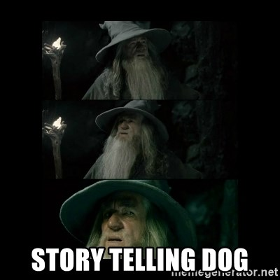 Confused Gandalf -  story telling dog