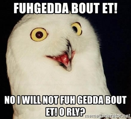 O Rly Owl - FUHGEDDA BOUT ET!  no i will not fuh gedda bout et! O RLY?