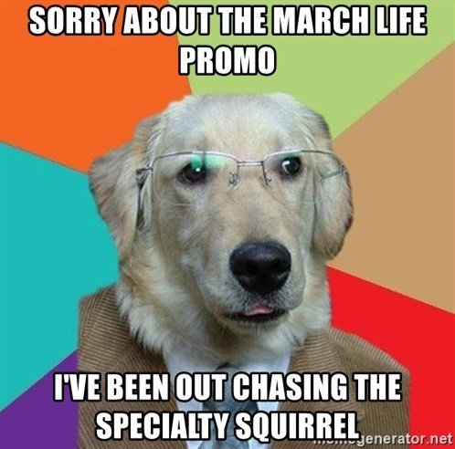 Business Dog - Sorry about the March Life promo I've been out chasing the specialty squirrel