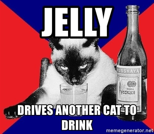 Alco-cat - jelly drives another cat to drink