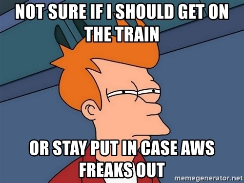 Futurama Fry - Not sure if I should get on the train or stay put in case AWS freaks out