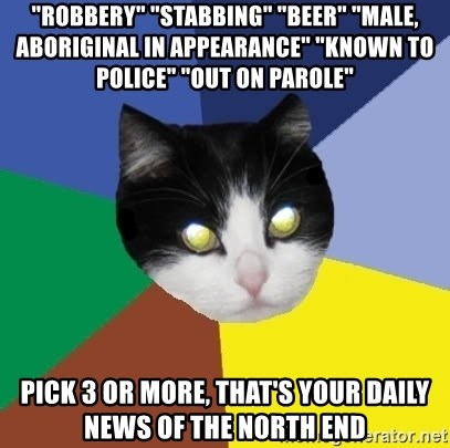 "Winnipeg Cat - ""robbery"" ""stabbing"" ""beer"" ""male, aboriginal in appearance"" ""known to police"" ""out on parole"" pick 3 or more, that's your daily  news of the north end"