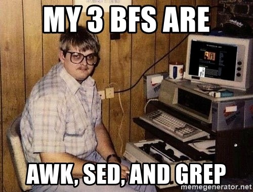 Nerd - MY 3 BFS ARE AWK, SED, AND GREP