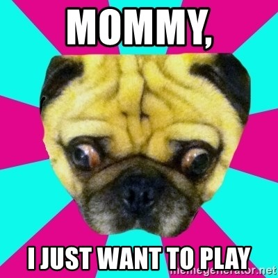 Perplexed Pug - MoMMY,  I JUST WANT TO PLAY