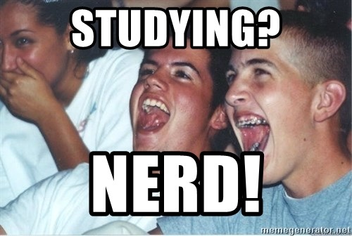 Immature high school kids - Studying? Nerd!