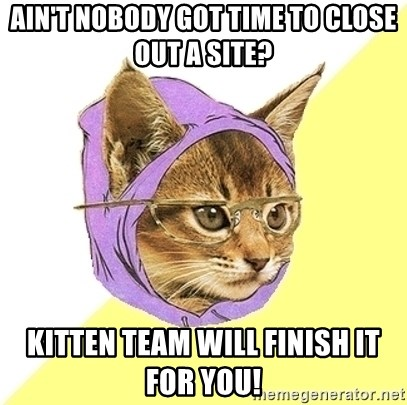 Hipster Cat - ain't nobody got time to close out a site? kitten team will finish it for you!