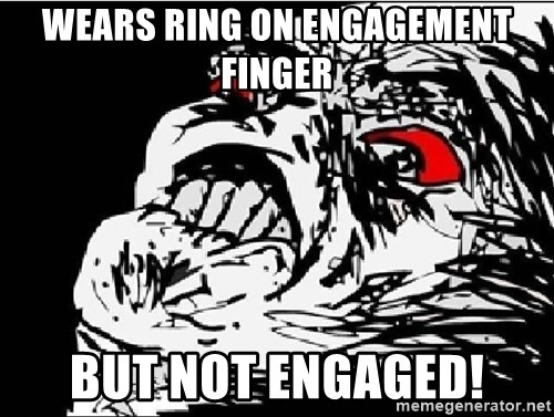 Raisins Face - Wears rIng on engagement finger But not engaged!