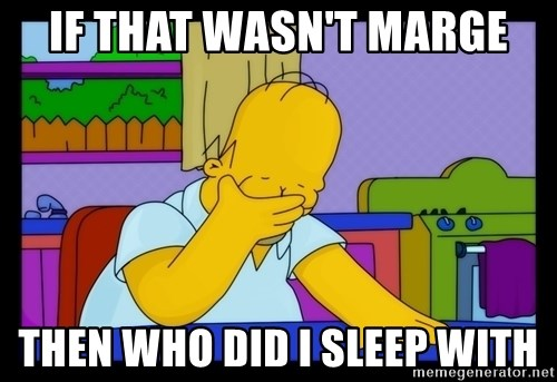 Homer Facepalm - if that wasn't marge then who did i sleep with