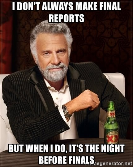 The Most Interesting Man In The World - i don't always make final reports but when i do, it's the night before finals