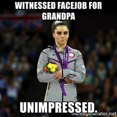 Unimpressed McKayla Maroney - Witnessed FaceJob For Grandpa Unimpressed.