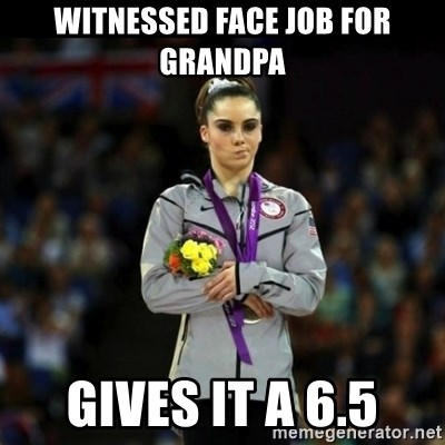 Unimpressed McKayla Maroney - Witnessed Face Job For Grandpa Gives it a 6.5