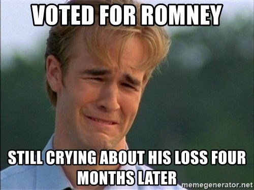 Crying Man - voted for romney still crying about his loss four months later