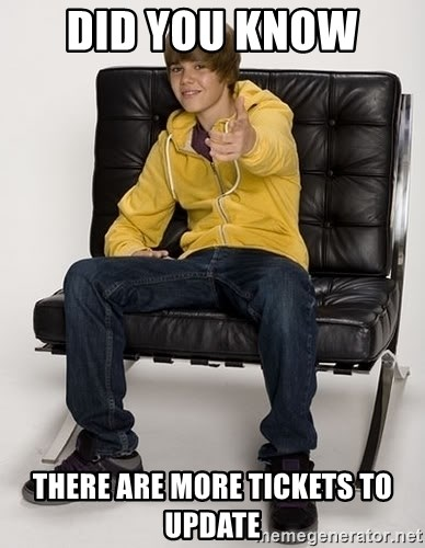 Justin Bieber Pointing - Did you know  there are more tickets to update