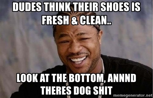 Yo Dawg - Dudes think their shoes is fresh & clean.. look at the bottom, annnd theres dog shit
