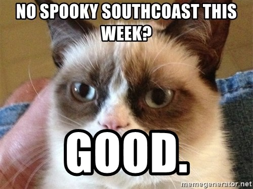 Angry Cat Meme - No Spooky Southcoast this week? GOOD.