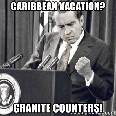Richard Nixon Success - caribbean vacation? Granite counters!