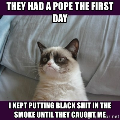 tard the grumpy cat 2 - they had a pope the first day i kept putting black shit in the smoke until they caught me