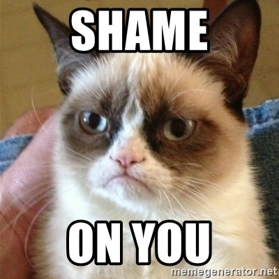 Grumpy Cat  - Shame On you