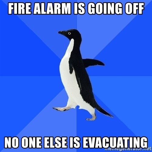 Socially Awkward Penguin - Fire alarm is going off no one else is evacuating