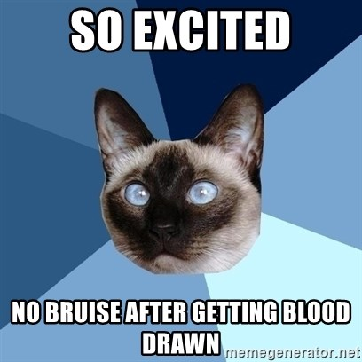 Chronic Illness Cat - So excited no bruise after getting blood drawn