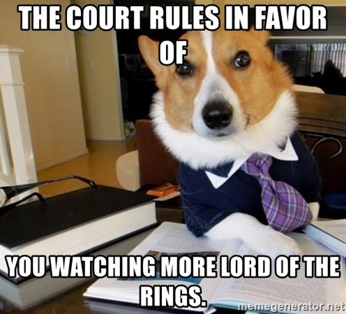 Dog Lawyer - the court rules in favor of you watching more lord of the rings.