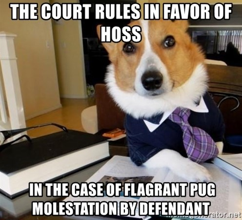 Dog Lawyer - the court rules in favor of hoss  in the case of flagrant pug molestation by defendant