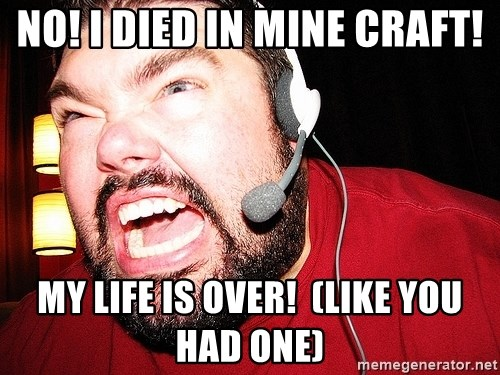 Angry Gamer - NO! I DIED IN MINE CRAFT! MY LIFE IS OVER!  (LIKE YOU HAD ONE)