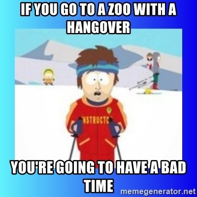 super cool ski instructor - If you go to a zoo with a hangover you're going to have a bad time