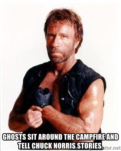 Chuck Norris  -  Ghosts sit around the campfire and tell Chuck Norris stories.