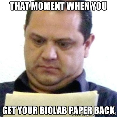 dubious history teacher - That moment when you get your biolab paper back