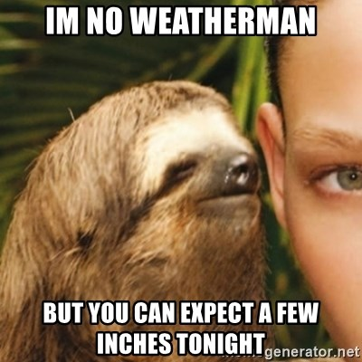 Whispering sloth - IM NO WEATHERMAN BUT YOU CAN EXPECT A FEW INCHES TONIGHT