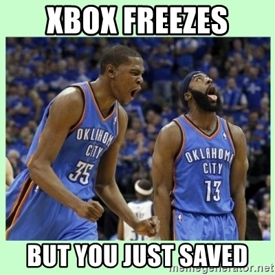 durant harden - xbox freezes but you just saved