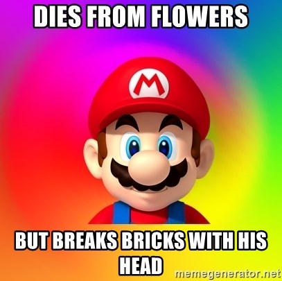 Mario Says - DIES FROM FLOWERS BUT BREAKS BRICKS WITH HIS HEAD