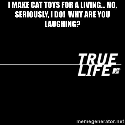 true life - I make cat toys for a living... No, seriOusly, I do!  Why are You laughing?