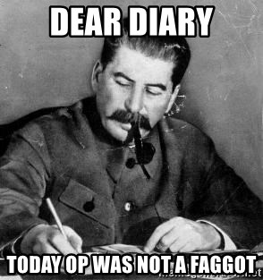 Dear Diary - Dear diary today op was not a faggot