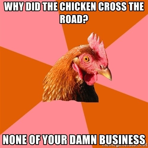 Anti Joke Chicken - Why did the chicken cross the road? none of your damn business