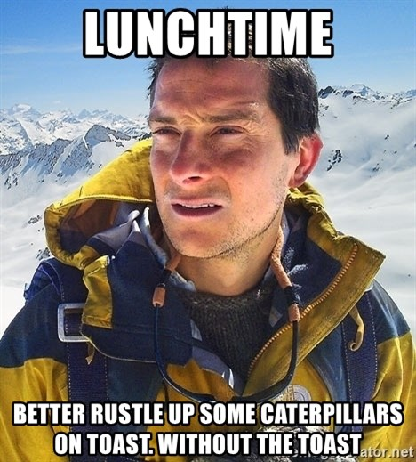 Bear Grylls Loneliness - lunchtime better rustle up some caterpillars on toast. without the toast