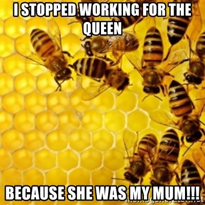 Honeybees - I STOPPED WORKING FOR THE QUEEN BECAUSE SHE WAS MY MUM!!!