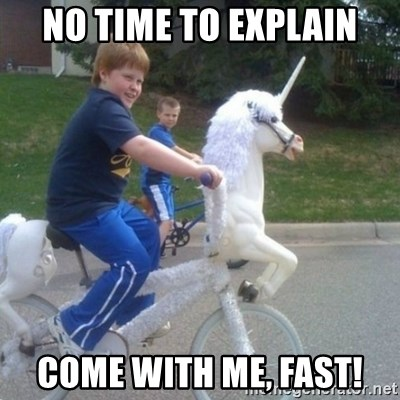 unicorn - No time to explain come with me, fast!