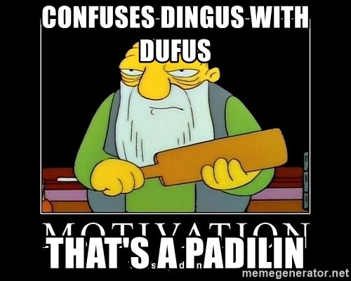 Thats a paddlin - CONFUSES DINGUS WITH DUFUS  THAT'S A PADILIN