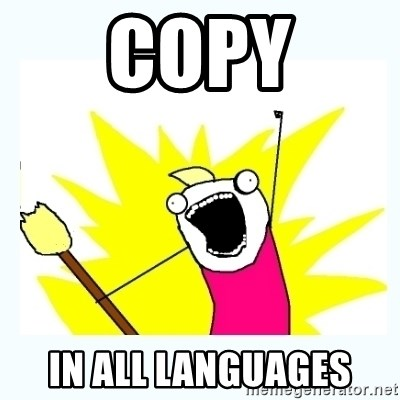 All the things - copy in all languages