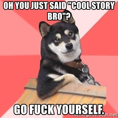 """Cool Dog - OH YOU JUST SAID """"COOL STORY BRO""""? GO FUCK YOURSELF."""