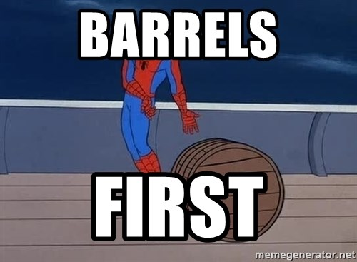 Spiderman and barrel - BARRELS  FIRST