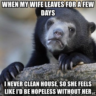 Confession Bear - When my wife leaves for a few days I never clean house, so she feels like I'd be hopeless without her