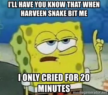 Tough Spongebob - I'LL HAVE YOU KNOW THAT WHEN HARVEEN SNAKE BIT ME  I ONLY CRIED FOR 20 MINUTES