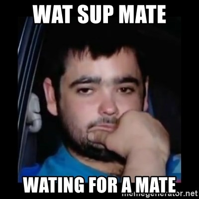 just waiting for a mate - WAT SUP MATE  WATING FOR A MATE